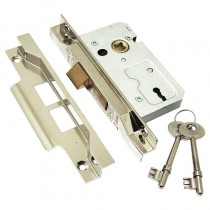 Rebated Mortice Lock 2 Lever 63mm Nickel Plated