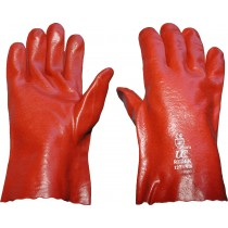 "Red PVC Gauntlet Glove 11"" (Open Wrist)"