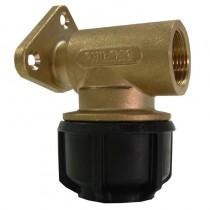 """Philmac Wallplate Elbow 90326 3G 25mm Brass 3/4"""" BSP"""