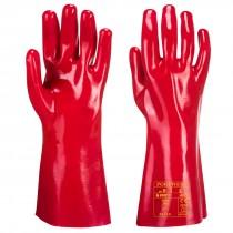 "Portwest RG43 Red PVC Gauntlet Glove 11"" (Open Wrist)"