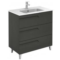 Brava Nature Grey 80cm Floor Standing 3 Drawer Vanity Unit