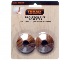WG26P - Trojan Plastic Rosettes Woodgrain Antique Oak/ Walnut (2)