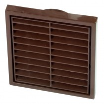 Wall Vent Square Louvre with Fly Screen 100mm - Brown