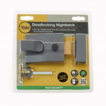 Yale Nightlatch Security Lock P89 Grey with Brass Cylinder