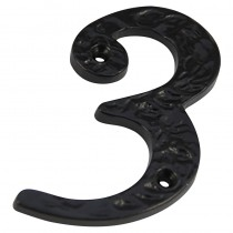 Numeral 3 Screw Fix 100mm Black Antique ***