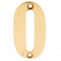 Numerals 0 Screw Fix 65mm Brass