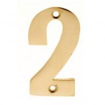 Numerals 2 Screw Fix 65mm Brass ***