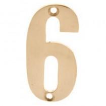 Numerals 6 Screw Fix 65mm Brass ***