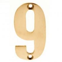 Numerals 9 Screw Fix 65mm Brass ***