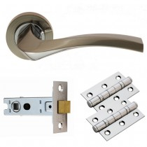 SINES Lever On Rose Doorpack Includes: Lock/2xEscutcheons/3x X Hip Hinges SNCP